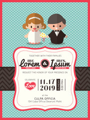 wedding invite card template with groom and bride cartoon icon