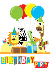 animals with balloons, birthday party - vectors