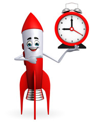Rocket character with table clock