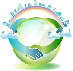 手をつなぐ 緑の地球