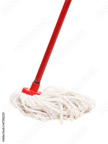 Closeup of red mop for cleaning. - 67582220
