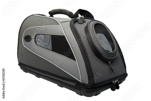 Foto op Canvas Dragen Soft Sided grey and black Cat Carrier isolated on white.