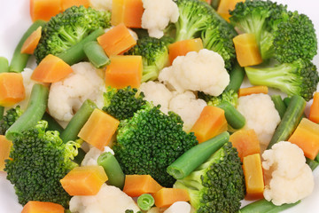 Close up of salad with broccoli.