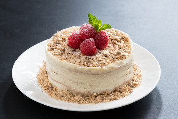 delicious cake with custard and raspberry on a dark background