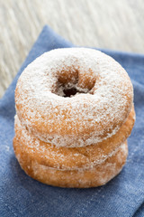 donuts with powdered sugar, selective focus