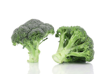 Two fresh broccoli close up.