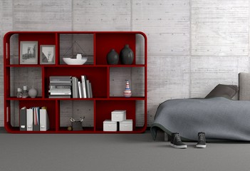 Rotes Regal mit Sofa