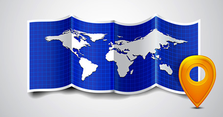 Folded world map with gps marks.