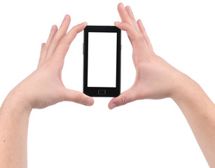 Hands holds smartphone.