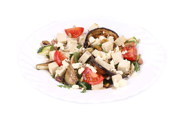 Salad with grilled vegetables and tofu