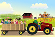 Kids going on a hayride in a farm with corn fields in the backgr