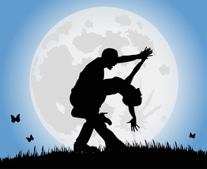ballerini di tango sotto la luna piena