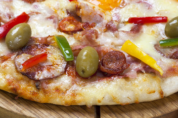 Sausage pizza - close-up.