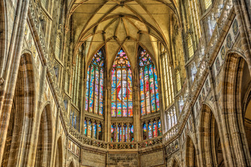 Stained windows in St. Vitus Cathedral located within Prague Cas