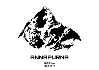 Outline vector illustration of Mt. Annapurna