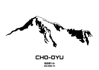 Outline vector illustration of Cho Oyu