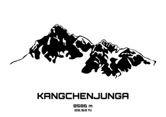 Outline vector illustration of Mt. Kangchenjunga