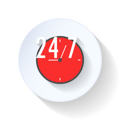 24 hours open flat icon