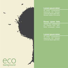 Abstract grunge tree on eco background. Vector
