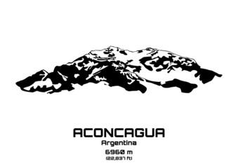 Outline vector illustration of Mt. Aconcagua