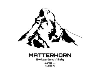 Outline vector illustration of Mt. Matterhorn