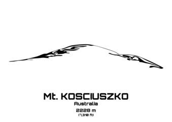 Outline vector illustration of Mt. Kosciuszko