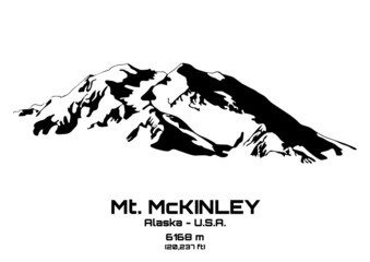 Outline vector illustration of Mt. McKinley