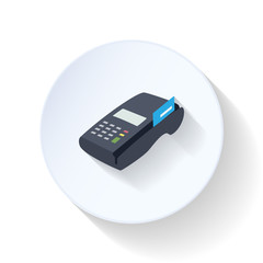 Credit card terminal flat icon