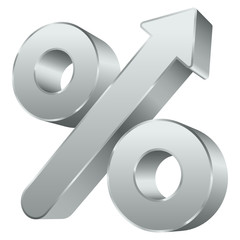 Percent Sign Arrow Up Silver