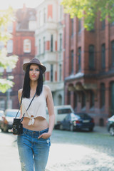 Hipster Tourist Girl in a Hat