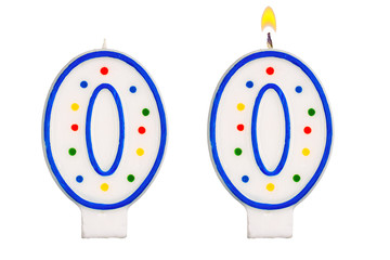 Birthday candles number nil isolated on white background