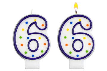 Birthday candles number six isolated on white background