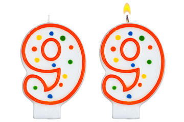 Birthday candles number nine isolated on white background