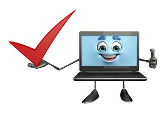 Laptop Character with right sign