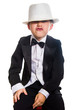 Cheerful boy in a tuxedo, isolation