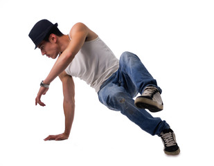 Athletic man doing a break dance routine