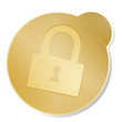 button icon ssl  gold metallic isolated
