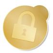 button icon ssl  gold metallic isolated