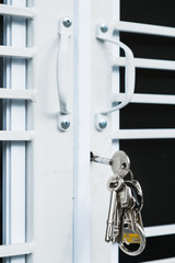 Door handle with inside doors lock and keys