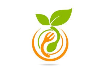 vegetarian food logo fresh restaurant