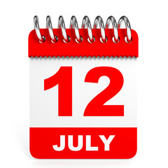 Calendar on white background. 12 July.