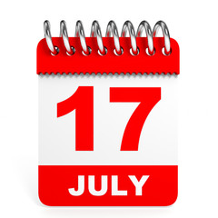 Calendar on white background. 17 July.