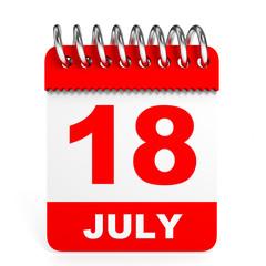 Calendar on white background. 18 July.