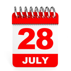 Calendar on white background. 28 July.