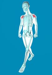 Uomo che cammina visto ai raggi x con dolore alle spalle