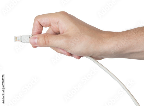 canvas print picture Hand with network cable