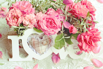 Fresh roses and Love in retro style