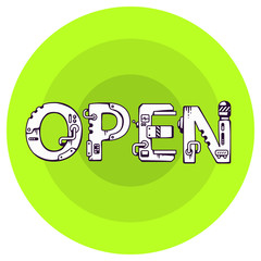 vector illustration of the word open in techno style on a green