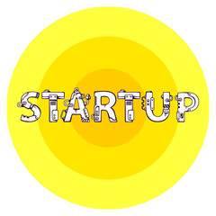 bright vector illustration of the word startup in techno style o
