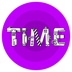 bright vector illustration of the word time in techno style on a